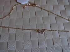 BRAND NEW GOLD COLOURED SMALL CHAIN HEART NECKLACE WITH DIAMANTE STONE IN HEART