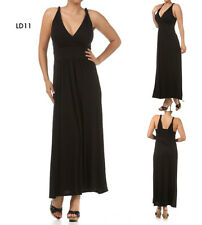 LD11 New Womens Black Size 14/16 Stretch Pleated Straps Maxi Summer Dress Plus