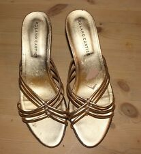 Roland Cartier. Ladies Gold Jewelled effect strappy mules sandal. UK 6.5