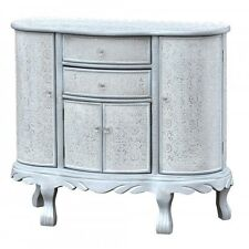 Antique White Silver Embossed Metal Curved Sideboard Cabinet