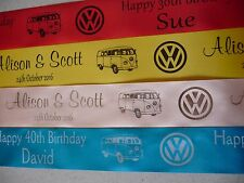 Volkswagen Campervan personalised ribbon for cakes gifts etc 45mm width x 1 met.