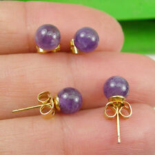 Amethyst Gemstone 6mm Round Ball Stud Earrings - Gold Plated
