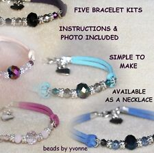 C / FIVE SUEDE HEART CHARM BRACELET KITS CRYSTAL BEADS JEWELLERY CRAFT MAKING/ 1