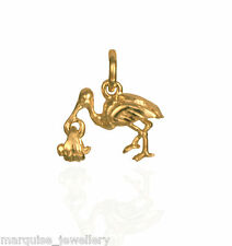 9ct Gold Stork & Baby Charm Pendant.  1.8g.