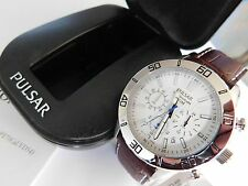 Gents Pulsar by Seiko Brown Leather Strap Chronograph Watch - PT3433 - RRP £130