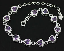 Stunning Solid 925 Sterling Silver, Heart Purple Amethyst Bracelet / Bangle +box