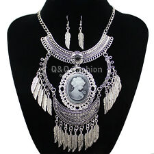 Victorian Vintage Silver Girl Cameo Feather Crescent Chain Necklace Earrings H6