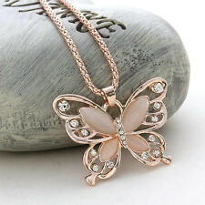 Women 's Rose Gold Butterfly Pendant Necklace Metal Fashion Jewelry Gift New