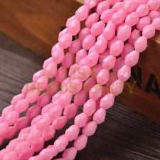 New Arrival 30pcs 8X6mm Teardrop Faceted Loose Spacer Glass Beads Pink Red