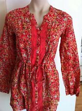 Ladies Floral EMERGE Top Size 8 Cotton Silk Long Sleeved