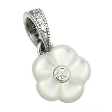 FLORALS Pendant Charm 925 Solid Sterling Silver Luminous Mother of Pearl Flower