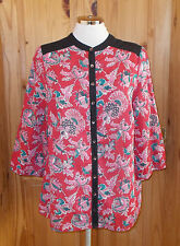 MONSOON black red pink turquoise floral mandarin 3/4 sleeve blouse tunic top 14