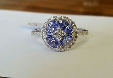 18ct gold tanzanite and diamond cluster ring