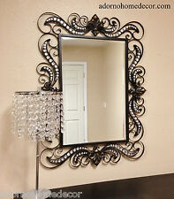 wrought iron style wall crystal jewel mirror rustic modern chic decor unique