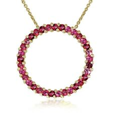 18K Gold over Sterling Silver 1.6ct. TGW Ruby Circle Necklace