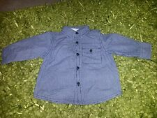 mothercare, baby boy plaid  shirt,long sleeve, blue, 6-9 months, new without tag