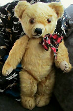 "Antique 18"" Merrythought  English mohair teddy bear with 1930's foot label"