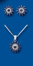 """Sterling Silver Sapphire & Diamond Cluster Pendant & Earring Set with 16"""" Chaiin"""