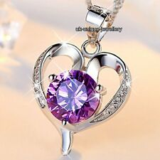 BLACK FRIDAY SALE - 925 Silver Purple Crystal Heart Necklaces Xmas Gifts For Her