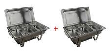 2x Chafing Dishes Speisenwärmer Warmhaltebehälter Edelstahl 6x 1/3 GN Behälter