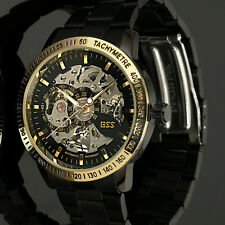 Mens Black Stainless Steel Golden Skeleton Automatic Mechanical Wrist Watch GIft