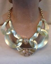 ALEXIS BITTAR GOLD TONE, CREAM LUCITE, Crystal Encrusted 5 LINK NECKLACE