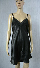 **JENNYFER SECRET** Black Nightie 10 Sexy S M Night Gown Satin Sleepwear Evening