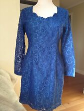 RESERVE  by MISS SHOP blue laced long sleeve dress , size 10 ( S ).