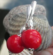 Stunning Red Coral Bamboo Bead 925 Sterling Silver Earrings with Hook