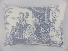 Shabby Chic Blue French Scene Toile Lumbar Pillow Scatter Feather Cushion