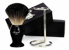 100% PURE BLACK BADGER HAIR SHAVING BRUSH IN BLACK WITH BRUSH STAND. FOR MEN'S