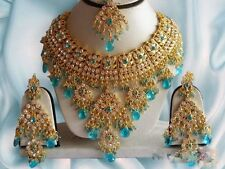 INDIAN BRIDAL & PARTY WEAR JEWELLERY SET TURQUOISE STONES GOLD NEW