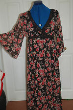 NEW Sz 10 Black Red Rose Floral Full length maxi dress lace trim drape sleeves