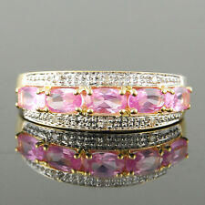 New Oval PinkSapphire 9k Yellow Gold Journey Rings