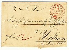 """GERMANY STATES THURN AND TAXIS PREPHILATELIC COVER RED PMK """"FRANKFURT"""" (1849)"""