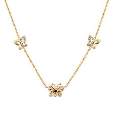 14k Yellow Gold Diamond Butterfly Necklace 0.25ct TDW 20 Inch Chain 100% REAL
