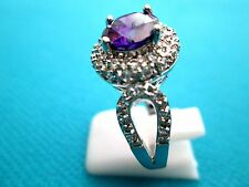 925 Silver Ring With Natural Amethyst And White Topaz Size Q, US 8 (rg2014)