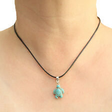 Turquoise Turtle Charm Pendant Necklace with Black Cord