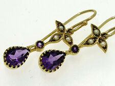 CE052 Victorian styled Genuine 9ct Gold Natural Amethyst & Pearl Drop Earrings