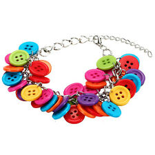 Joe Cool Multi-Coloured Cluster Buttons Bracelet - Funky Kitsch Jewellery Pink