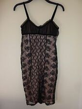 Miss selfridge black lace over pink cocktail dress. Size 8