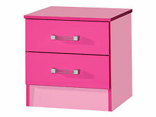 Marina High Gloss Pink Bedside Cabinet with 2 Drawers - Girls Bedroom Furniture