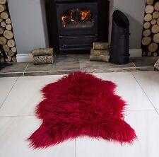 Ruby Red Shaggy Faux Fur Furry Fluffy Sheepskin Soft Living Room Rug 60cm x 90cm