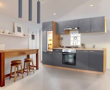 respekta Küche Einbau Küchenzeile Einbauküche Küchenblock 270 cm Buche Grau
