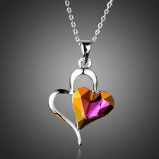 Platinum Plated Double Heart Swarovski Element Crystal Pendant Necklace (N699-34