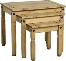 Corona Pine Nest of Tables Set of 3 Wooden Occasional Coffee Nested Tables