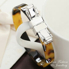 18K White Gold Plated Simulated Tortoise Shell Fashion Bow-knock Bangle