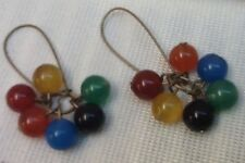 Rainbow Scottish Agate beaded Earrings Harlequin Gemstone Beaded Dangle Cluster