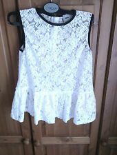 ASOS womens girls white floral lace semi sheer party top 10