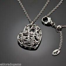 HEARTS ON FIRE NECKLACE 0.40 CT DIAMOND BROCADE HEART PENDANT 18K WHITE GOLD 32""